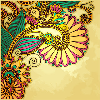 カラフルな植物柄を汚した背景 grunge floral ornament backgrounds with some colorful patterns イラスト素材5