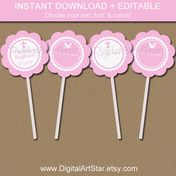 Editable Baptism Printable Cupcake Toppers in Pink and White