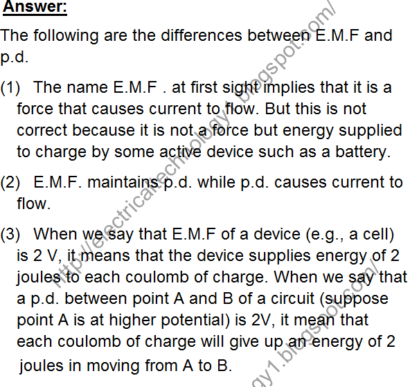 What are the fundamental differences between E.M.F (Electro motive ...