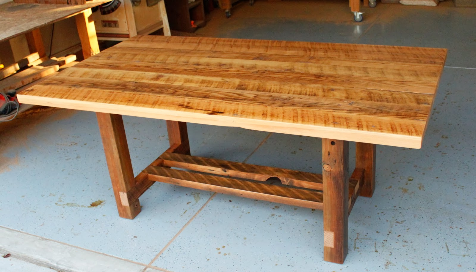 Arbor exchange reclaimed wood furniture reclaimed wood dining table with double stretcher Best wood for dining table