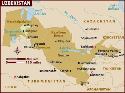 Uzbekistan Map Political Regional