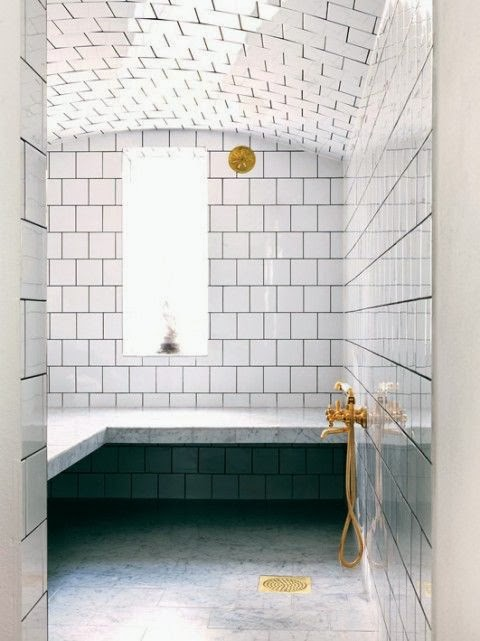 To da loos what the designers like to pair white subway - White subway tile with black grout bathroom ...
