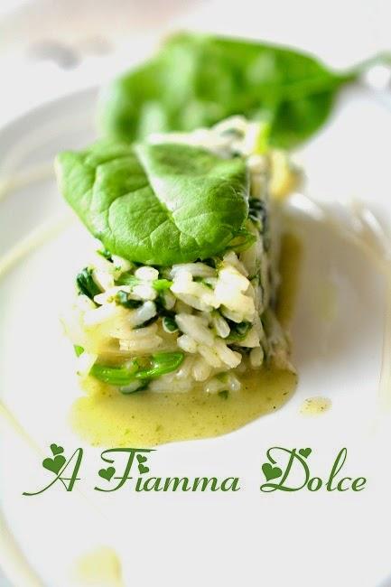 risotto agli spinaci freschi e sciroppo di riso