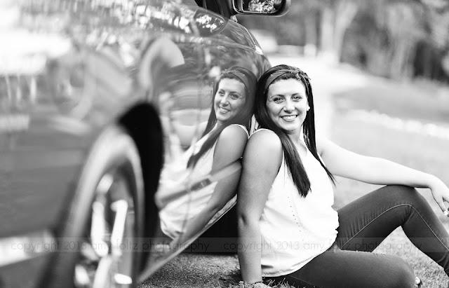 senior girl with car