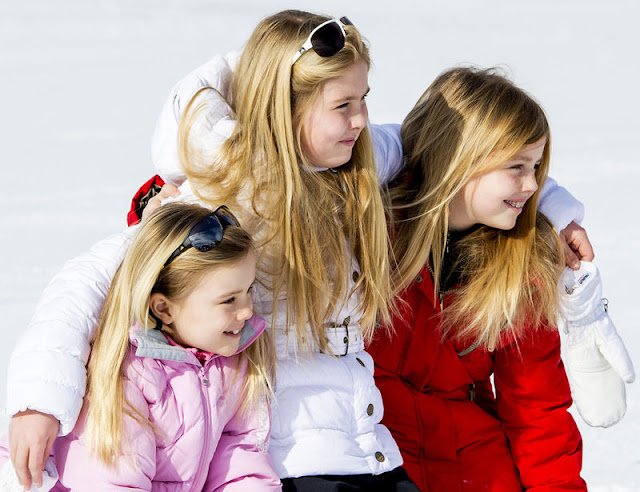 Princess Alexia, Princess Ariane and Princess Catharina-Amalia at the annual winter photocall in Lech, Austria