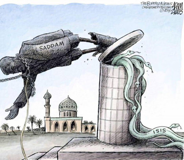 Picture of toppled statue of Saddam Hussein releasing serpents labeled