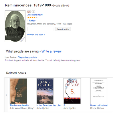 Julia Ward Howe - Reminiscences, 1819-1899 -- on Google Books