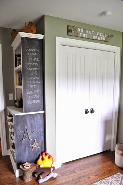 Outdoorsy, camping, boy scout nursery. Boy Scout Law. Built In Bookshelf.  Chalkboard.