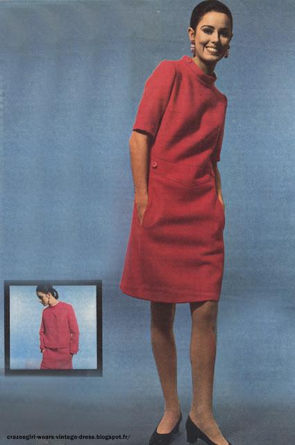sleeveless  pink dress in Paris - 1967 robe rose 1960 60s années60 mode fashion mini Le Bonaparte paris france french Robe en lainage rose et sa veste , shetland de la maison Wurmser robe en toile rose , animée de panneaux géométriques soulignés de piqûres et affinant le corsage et la jupe , quatre boutons en garniture et décolleté angulaire dégageant bien le cou