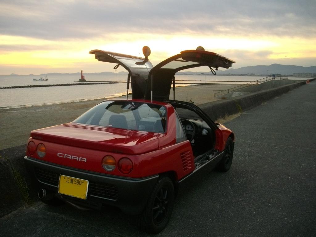Suzuki Cara, kultowy, ciekawy design, sportowy kei car, napęd na tył, silnik umieszczony centralnie, gull-wing, jdm, japońska motoryzacja, niewielki samochód