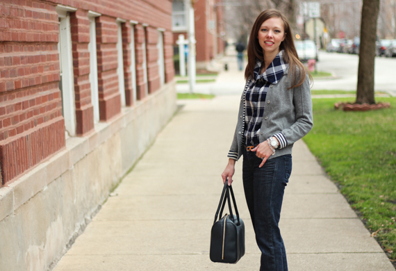 StyleSidebar - Wool Cardigan, Plaid Blouse, Jeans