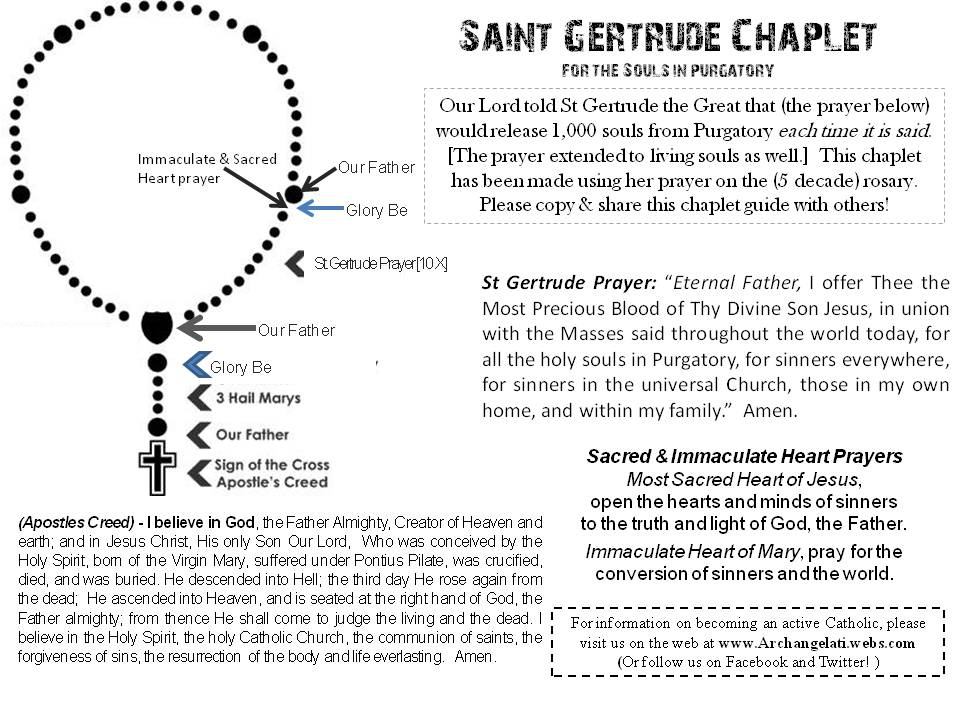 picture relating to How to Pray the Rosary Printable Version named Archangelati : Saint Gertrude Chaplet- launch 50,000 souls
