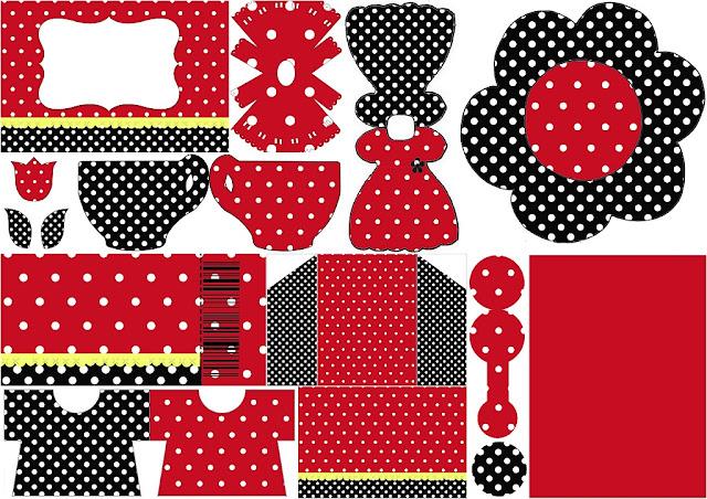 Rojo, Negro y Lunares Blancos: Invitaciones para Imprimir Gratis.