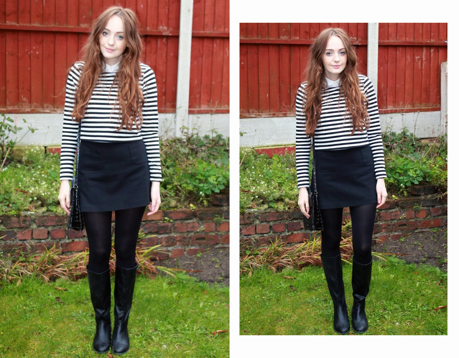 OOTD featuring black and white striped long sleeved top, peter pan collar white shirt, black aline skirt with front pockets from H&M, black primark tights and satchel and knee high black flat boots