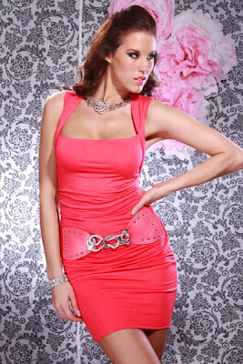 CORAL SQUARE NECKLINE BELTED SEXY MINI DRESS