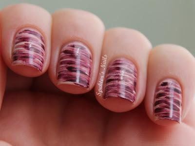 Purple Strokes Nail Art Essie