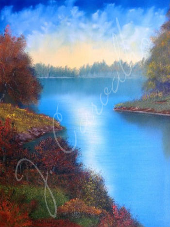 "J. Carvalho, ""Wilderness Lake"" - Oil Painting on Canvas"