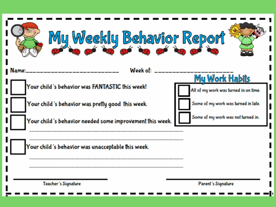 ... teacher friendly weekly behavior report this behavior report includes