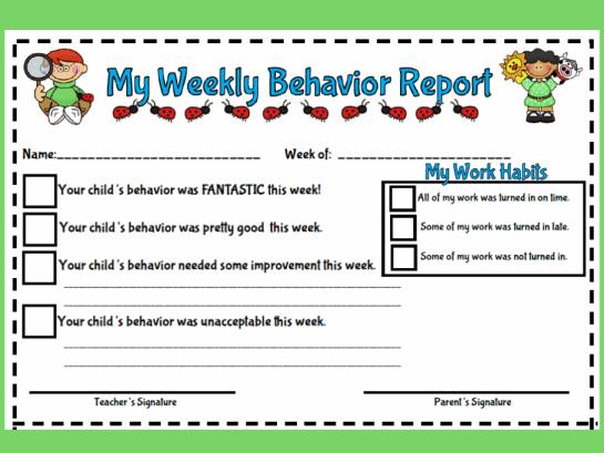 Behavior Report Form Images