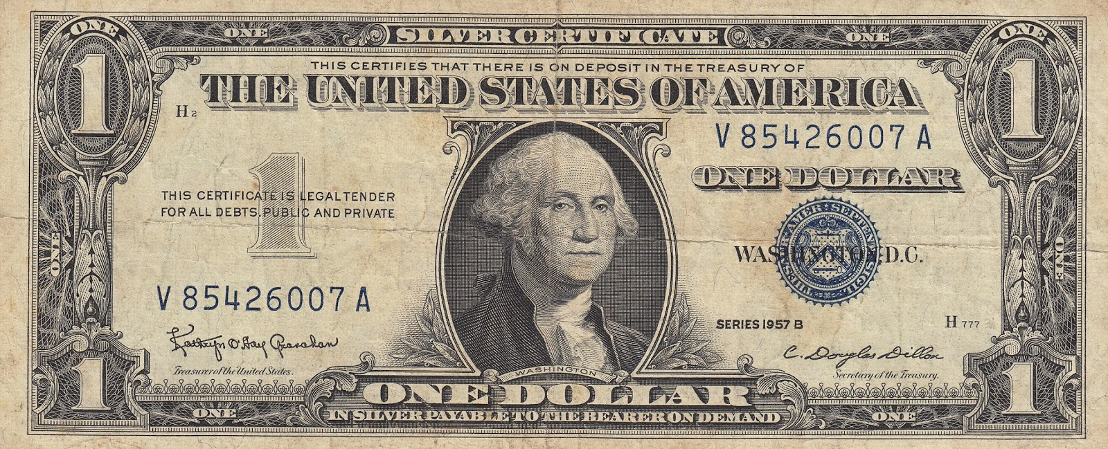 How Much Is A One Dollar Silver Certificate Worth Series 1957