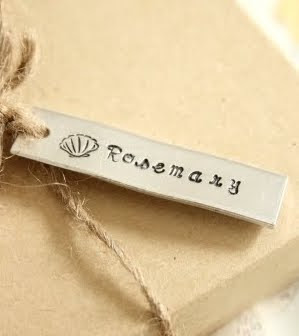 hand stamped beachy gift tags