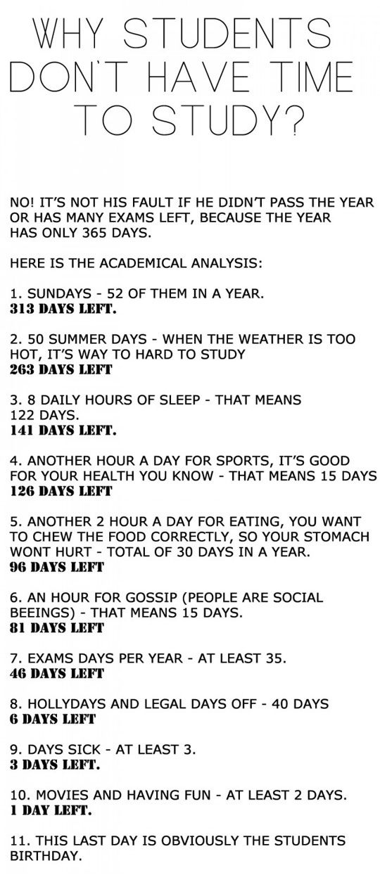 Fun Facts - Why Students Don't Have Time To Study