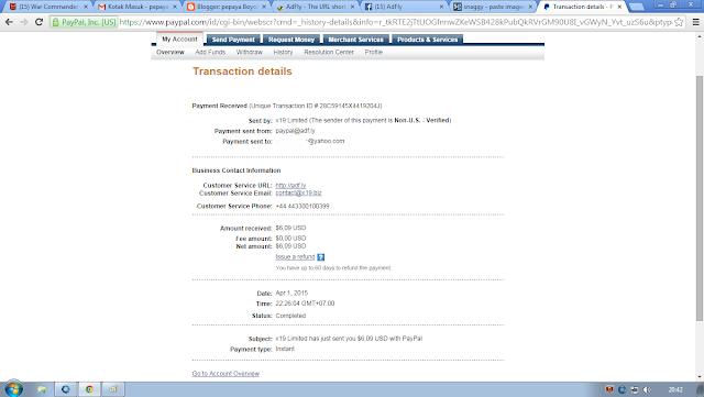 bukti pembayaran adf.ly di rekening paypal saya
