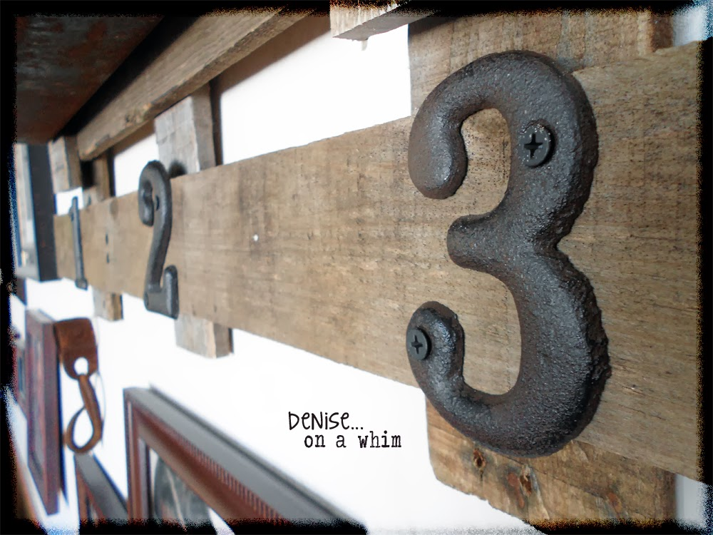 metal numbers add a touch of fun to a rusty metal and pallet wood shelf via http://deniseonawhim.blogspot.com