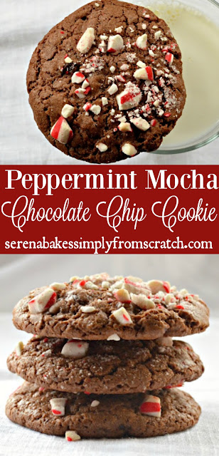 Peppermint Mocha Chocolate Chip Cookies are a holiday favorite and great for Christmas Cookie trays. Soft, chewy and fun to make! serenabakessimplyfromscratch.com