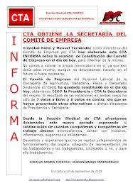 CTA OBTIENE LA SECRETARÍA DEL COMITÉ DE EMPRESA