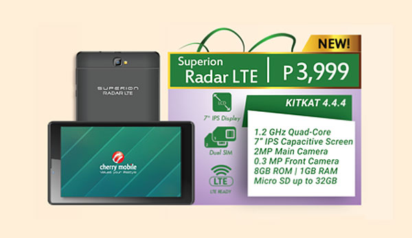 cherry mobile superion radar lte 4g tablet now available. Black Bedroom Furniture Sets. Home Design Ideas