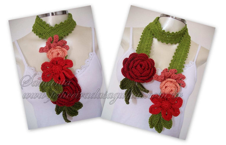 Вязание крючком шарфы цветочные 88