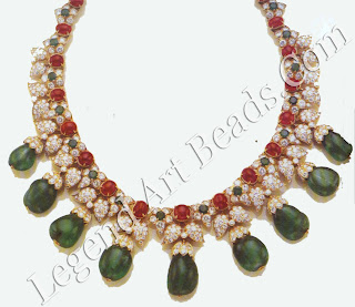 Another necklace of Indian inspiration created by Van Cleef & Arpels in the 1960s, The gold and diamond caps on the emerald drops imitate the enamel caps found on pendent beads in much Mughal jewellery.