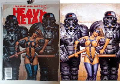 Oscar Chichoni illustraton censored and uncensored of Heavy Metal Magazine July 1994
