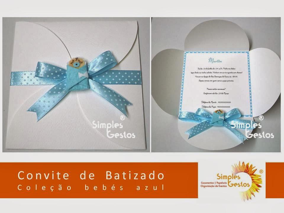 Simples Gestos Novo Convite Batizado Coleção Bebés