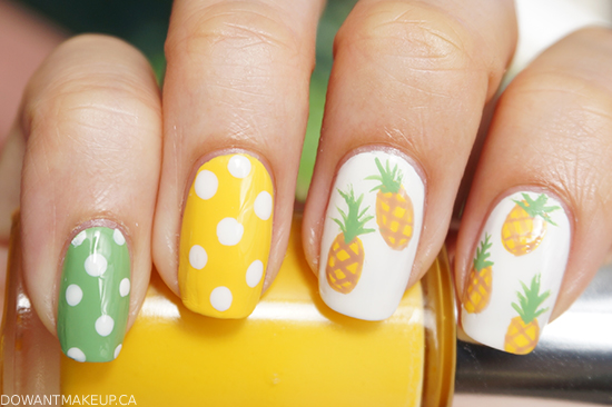 Pineapples & polka dots nail art