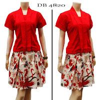 Baju Dress Batik Merah