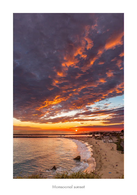 Monsoonal sunset with cloud at corona del mar, newport beach, orange county