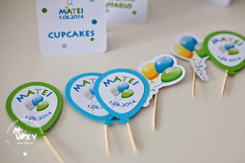 petrecere tematica baloane, pertrecere personalizata, stegulete prajituri personalizate, etichete prajituri tema baloane, petreceri deosebite, petreceri speciale, petreceri copii, petreceri tematice, papetarie personalizata
