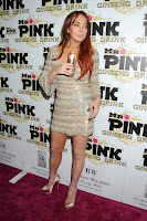 Lindsay Lohan on the red carpet at Mr. Pink Ginseng Drink Launch Party