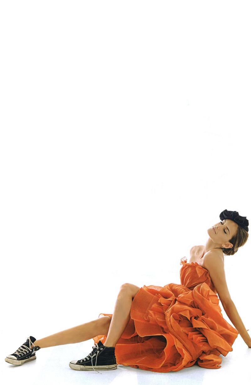Izabel Goulart wearing Dior Couture by John Galliano, Fall/Winter 2007 & Converse All Star in Elle UK October 2007 (photography: Bert Stern, styling: Aleksandra Uoroniecka)