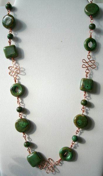 A touch of Autumn: copper and ceramic beads, wire wrapping, necklace :: All Pretty Things