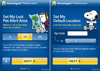Snoopy has a starring role in HomeAgain Pet Recovery Service iPhone app