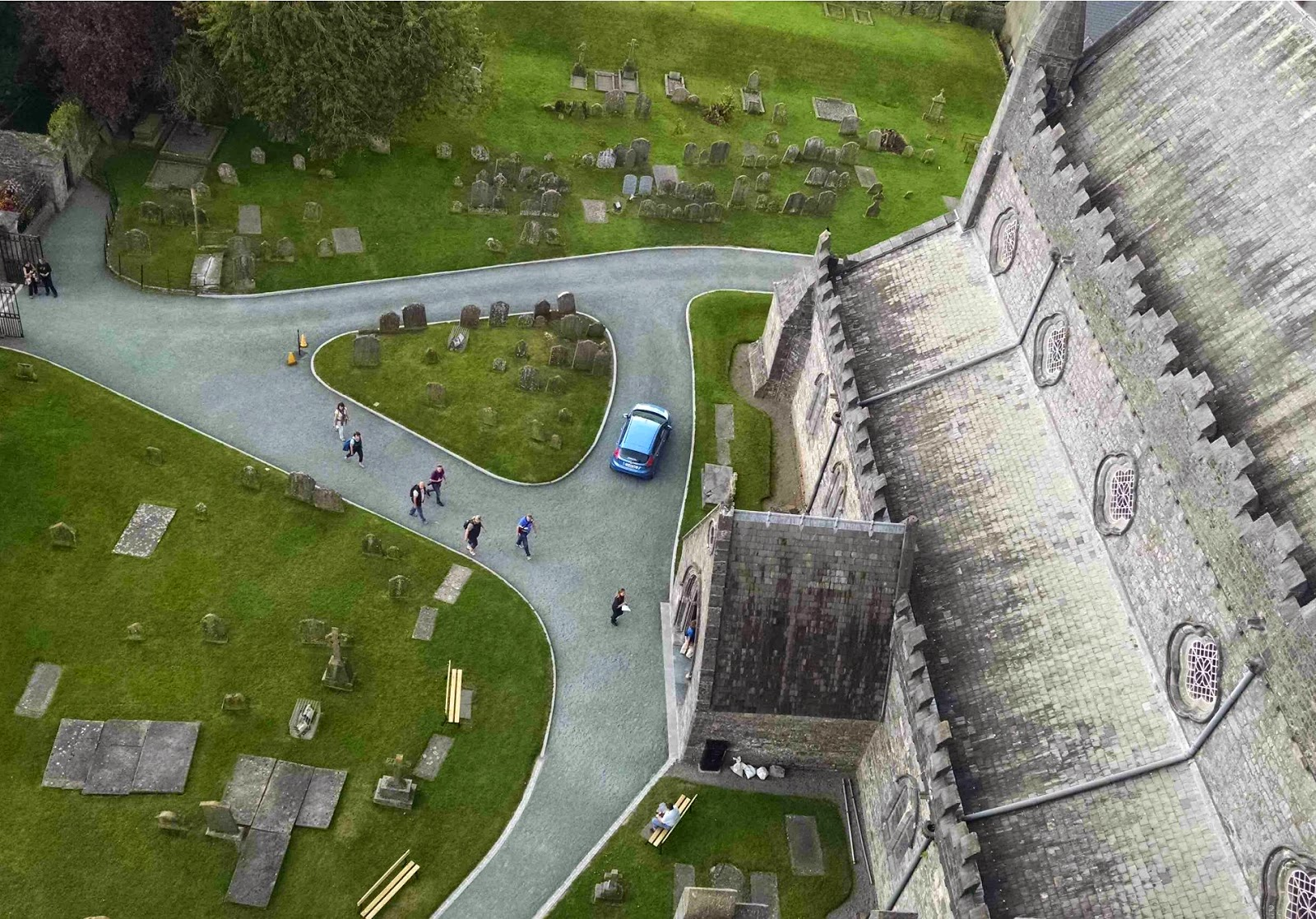 looking down at st. canice's from the kilkenny round tower