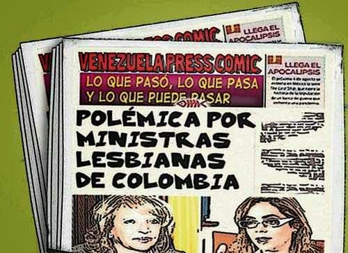 Front page cómic - ministras lesbianas de Colombia
