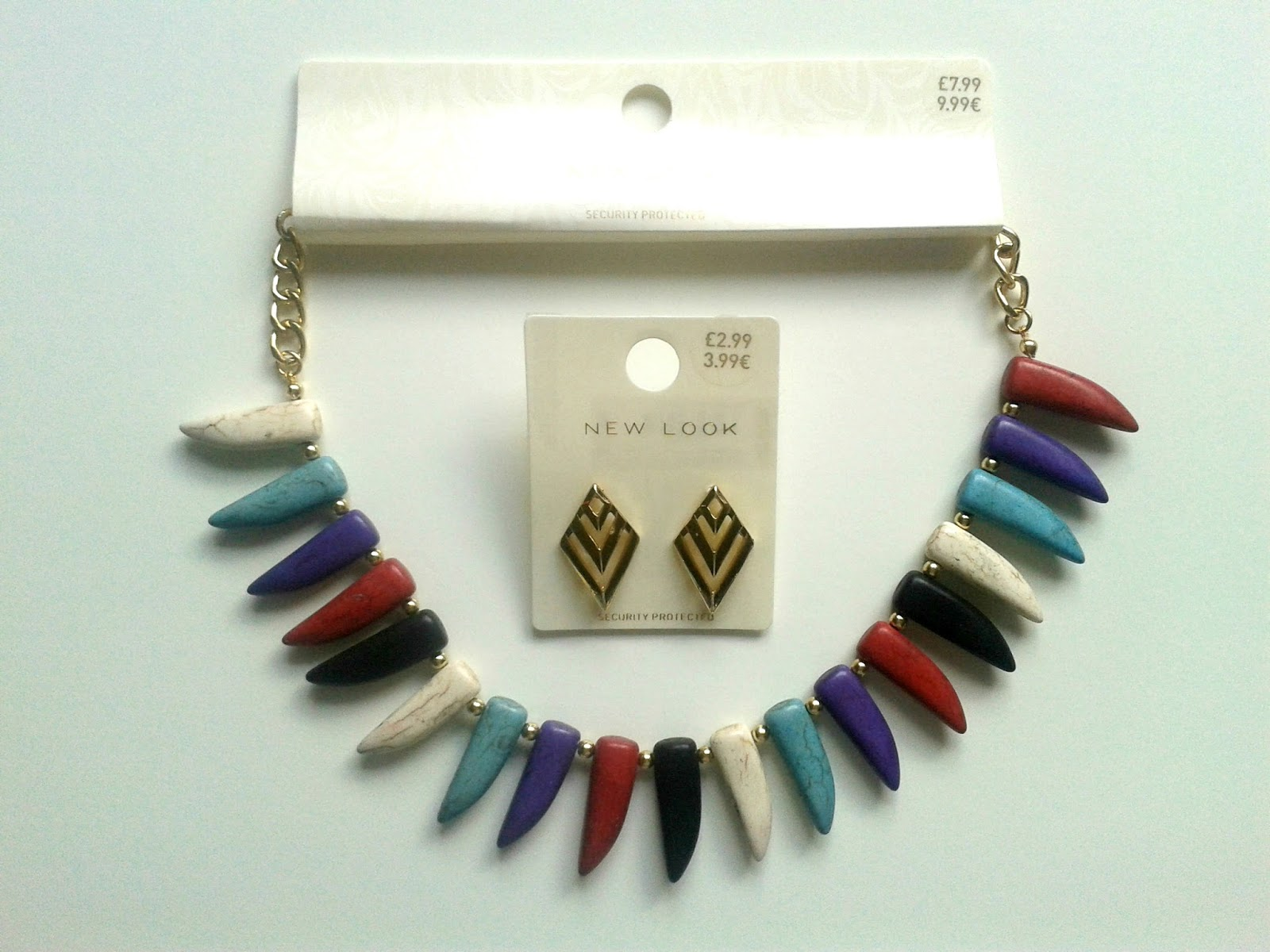 New Look Summer Jewellery Review Dark Blue Spike Tooth Necklace Gold Chevron Diamond Stud Earrings
