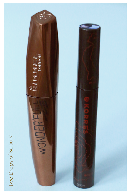 Korres Volcanic Minerals Volumizing Mascara, Rimmel WONDER'FULL Masscara With Argan Oil, тушь для ресниц, сравнение