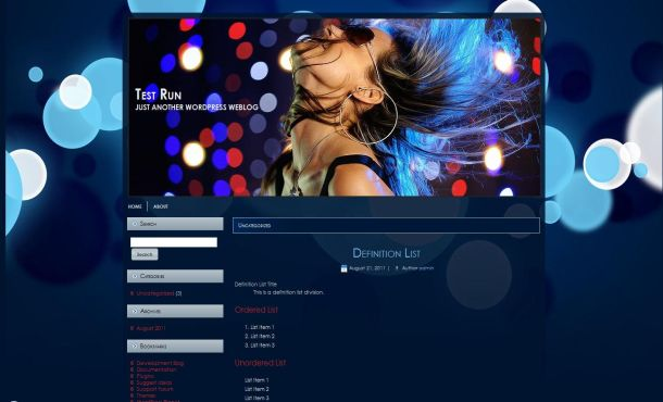 Free Sexy Music Blue Wordpress Theme Template, Free Blue Music Wordpress ...