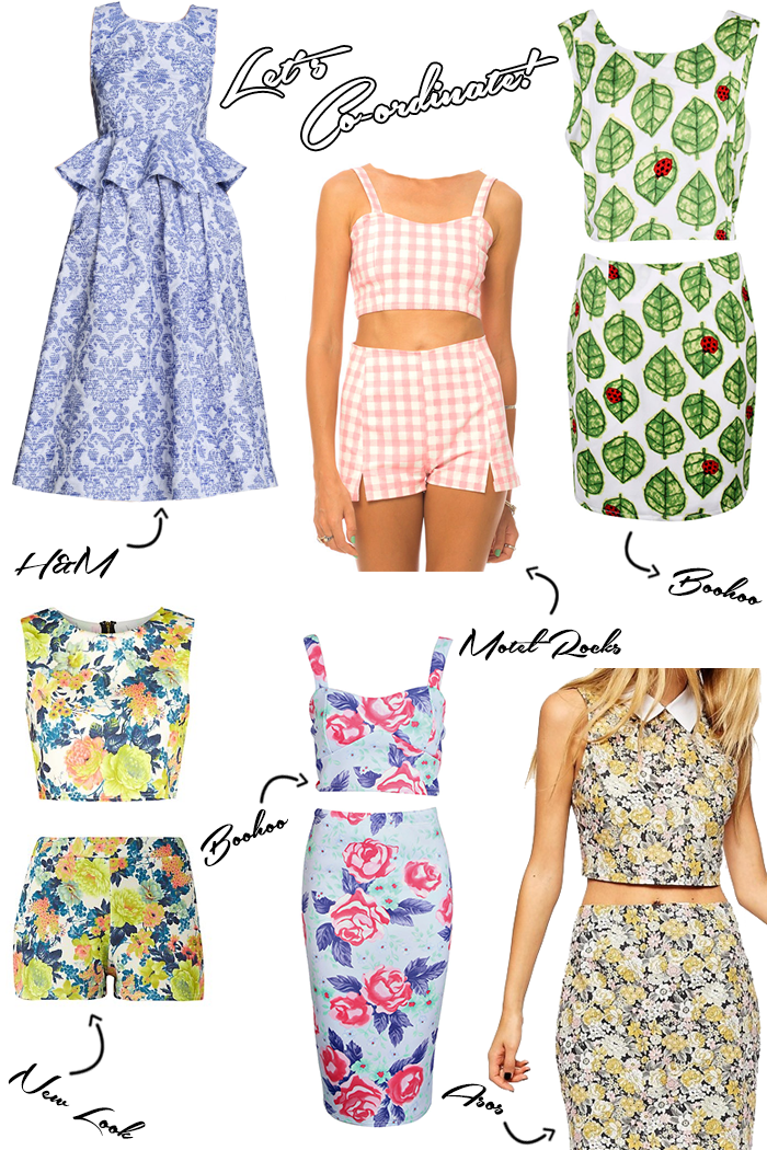 Coordinates or Co-ord matching sets trend Spring Summer 2014 collage