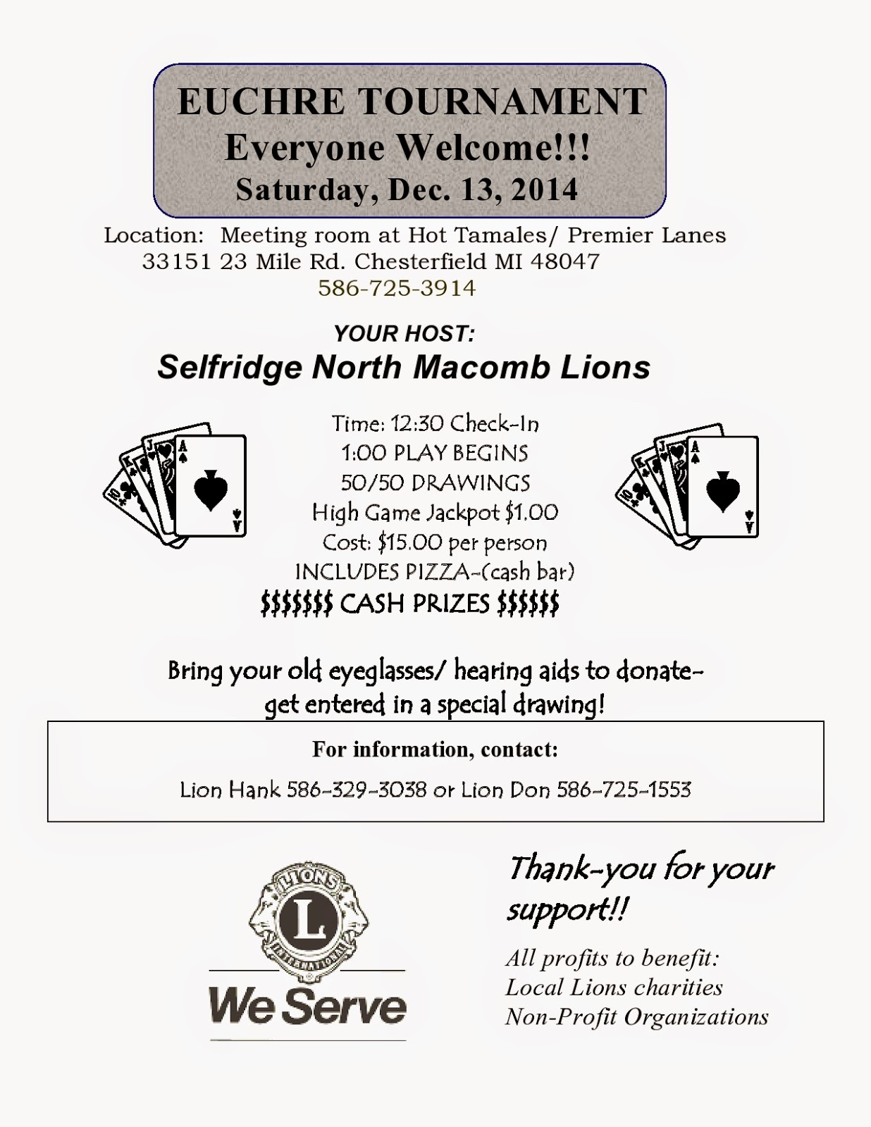 Lions Euchre Tournament Michigan